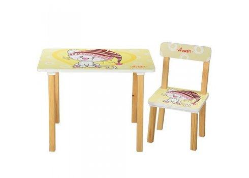 Деревянный столик со стульчиком, 501-17 Кошка бежевый