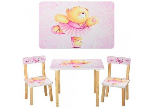 Деревянный столик со стульчиком, 501-23 Мишка, розовый