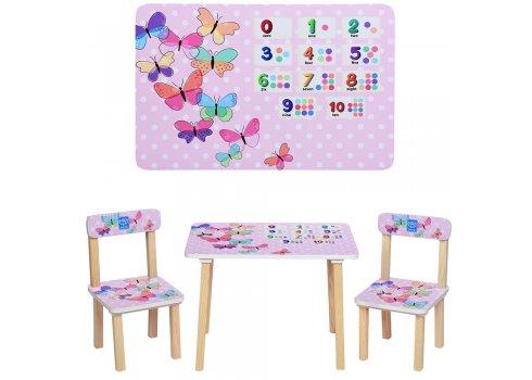 Деревянный столик и два стульчика Бабочки, 501-36 розовый