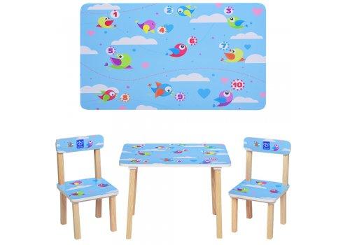 Деревянный столик и два стульчика Птички 501-39 голубой