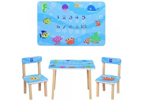 Деревянный столик и два стульчика Рыбки, 501-40 синий