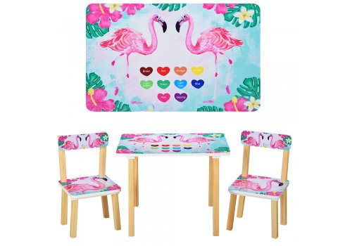 Деревянный столик и два стульчика Фламинго 501-43