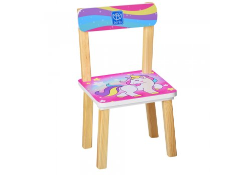 Деревянный столик и два стульчика Единорги 501-44-1 малиновый