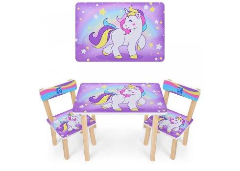 Деревянный столик и два стульчика Единорги 501-44-2 сиреневый