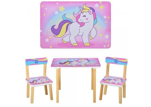 Деревянный столик и два стульчика Единорги, 501-44-3 розовый