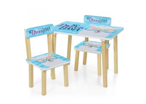 Деревянный столик и два стульчика Лама 501-48-1 голубой