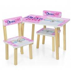 Деревянный столик и два стульчика Лама 501-48-2 розовый