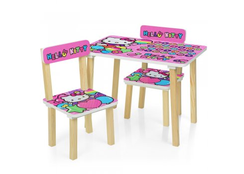 Деревянный столик и два стульчика Hello Kitty 501-49