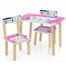 Деревянный столик и два стульчика Кошка 501-58-1 розовый