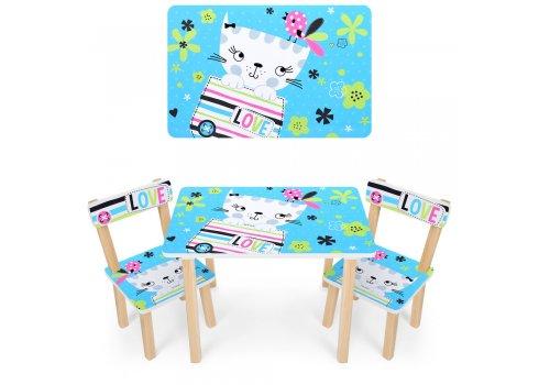 Деревянный столик и два стульчика Кошка 501-58-2 голубой