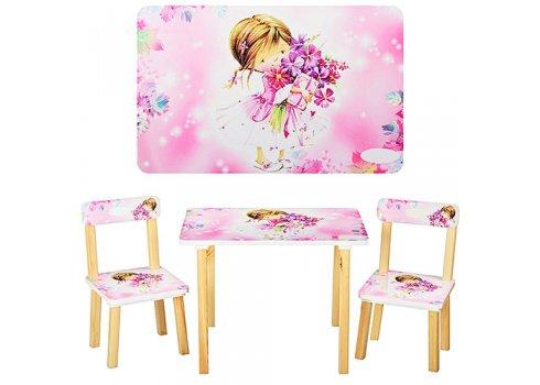 Деревянный столик и два стульчика Девочка, 501-6-1