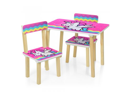 Деревянный столик и два стульчика Единорог 501-64