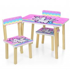 Деревянный столик и два стульчика Единорог 501-65