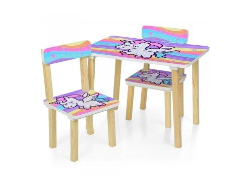 Деревянный столик и два стульчика Единорог, 501-66
