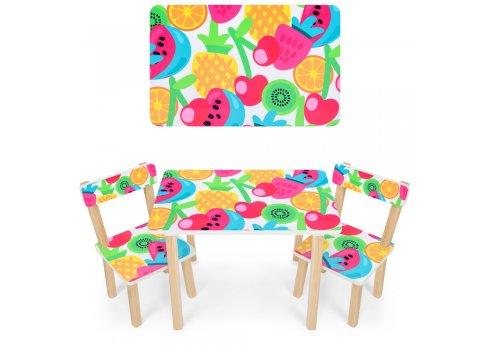 Деревянный столик и два стульчика Фрукты 501-76