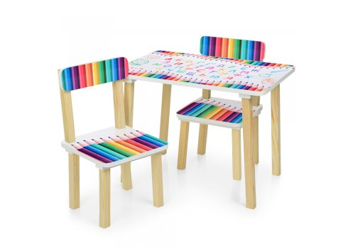 Деревянный столик и два стульчика Карандаши 501-77