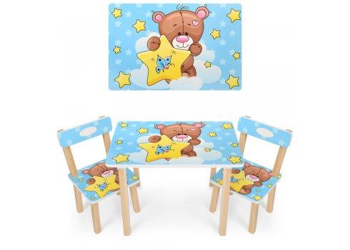 Деревянный столик и два стульчика Мишка 501-8 голубой