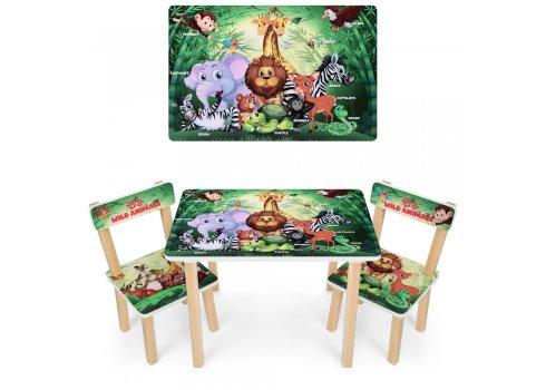 Деревянный столик и два стульчика Животные 501-83