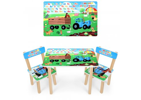 Деревянный столик и два стульчика Синий трактор 501-87