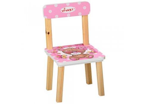 Деревянный столик и два стульчика Мишка 501-9 розовый