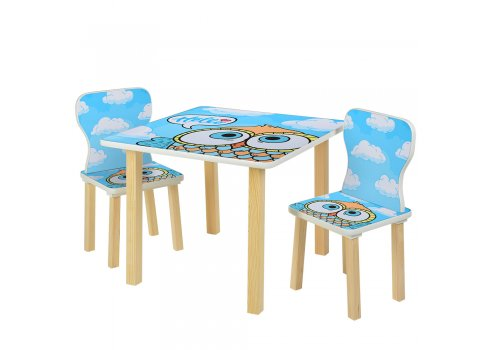 Детский столик и 2 стульчика Сова 508-60