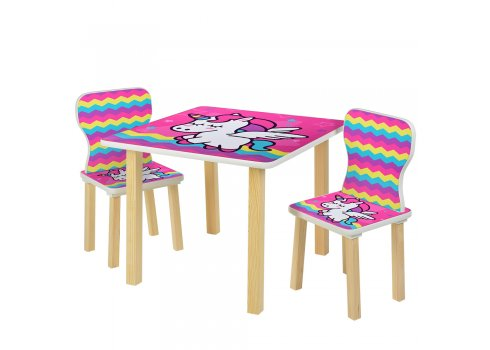 Детский столик и 2 стульчика Единорог 508-64