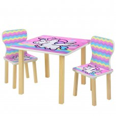Детский столик и 2 стульчика Единорог 508-65