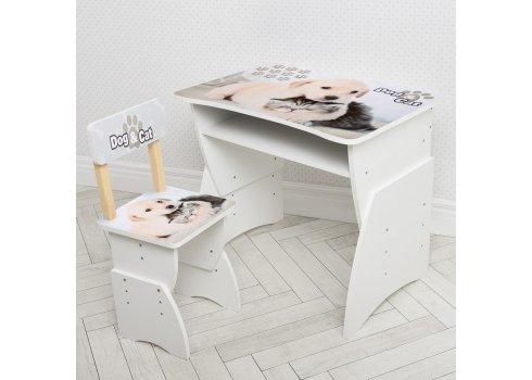 """Детская стол-парта со стульчиком """"Щенок и котенок"""" Bambi 905-101 серый"""