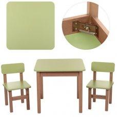 Деревянный стол и два стульчика F091 салатовый