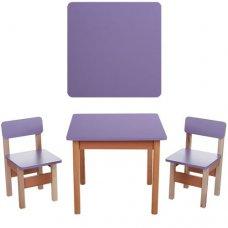 Деревянный стол и два стульчика F096 фиолетовый