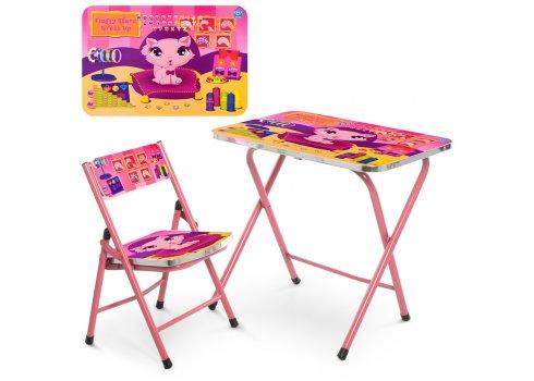 Детский складной столик со стульчиком Котенок A19-kitten(2) розовый