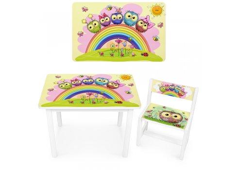 Детский деревянный столик со стульчиком Совы BSM1-01