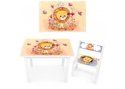 Детский деревянный столик со стульчиком Львенок BSM1-03