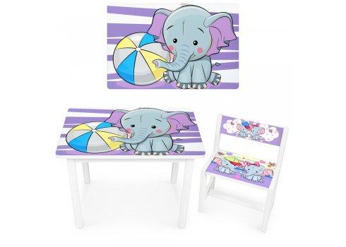 Детский деревянный столик со стульчиком Слоник BSM1-05