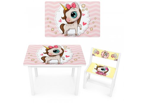 Детский деревянный столик со стульчиком Единорог BSM1-21