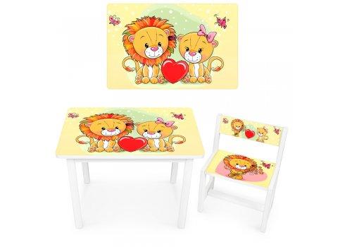 Детский деревянный столик со стульчиком Львята BSM1-26