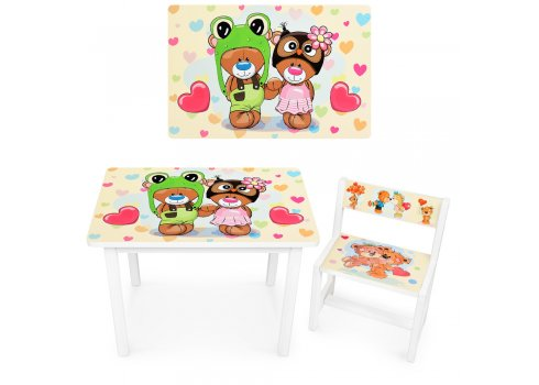 Детский деревянный столик со стульчиком Мишки BSM1-27