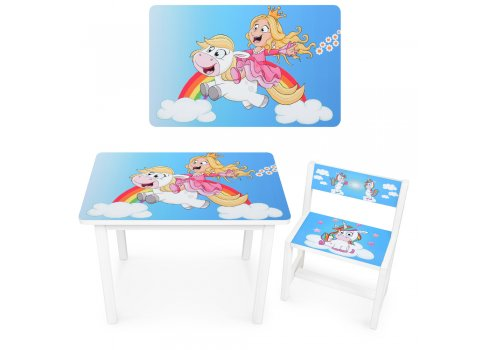 Детский деревянный столик со стульчиком Принцесса BSM1-35