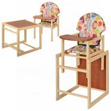 Деревянный стульчик для кормления, трансформер 2в1, VIVAST М V-002-11