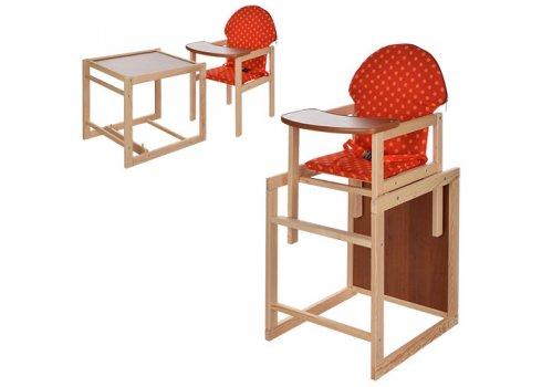 Деревянный стульчик для кормления - трансформер 2в1 Оранжевый горох M V-002-21 красный