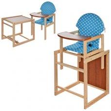 Деревянный стульчик для кормления - трансформер 2в1 Белый горох M V-002-22 голубой