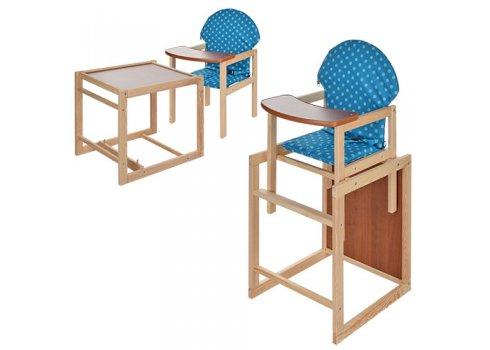 Деревянный стульчик для кормления - трансформер 2в1 Голубой горох M V-002-23 синий