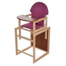 Деревянный стульчик для кормления - трансформер 2в1 Салатовый горох M V-002-24 малиновый