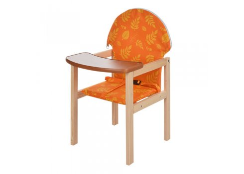 Деревянный стульчик для кормления - трансформер 2в1 Желтый лист М V-002-27 оранжевый