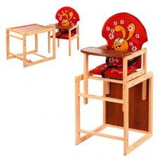 Деревянный стульчик для кормления (трансформер) Заяц, М V-010-21-3 красный