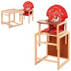 Деревянный стульчик для кормления (трансформер) Собака, М V-010-21-6 красный