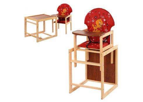Деревянный стульчик для кормления (трансформер) Цыпленок, М V-010-21-7 красный
