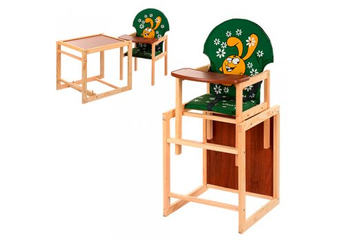 Деревянный стульчик для кормления (трансформер) Заяц, М V-010-22-3 зеленый