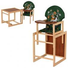 Деревянный стульчик для кормления (трансформер) Собачка, М V-010-22-6 зеленый