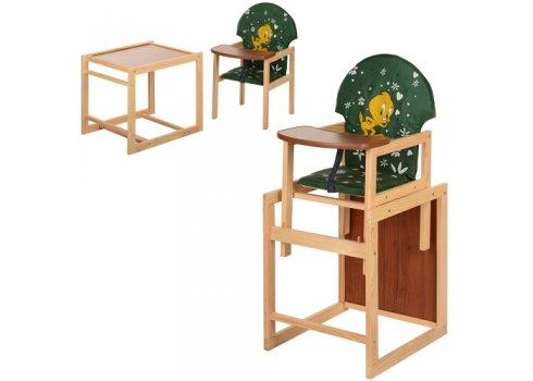 Деревянный стульчик для кормления (трансформер) Цыпленок, М V-010-22-7 зеленый